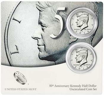 50th Anniversary Kennedy Half Dollar Two Coin Set